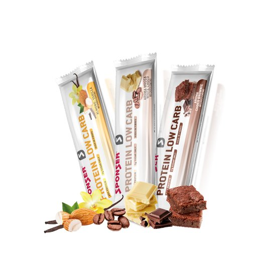 Sponser PROTEIN LOW CARB 30% Bar Almond-Vanilla 25 x 50 gr. Display